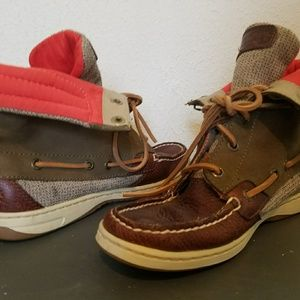 Sperry leather fold down boots w orange lining 6